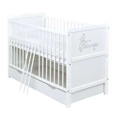 Babybett Kinderbett 2in1 Juniorbett Princess 120x60 Weiß Schublade Matratze