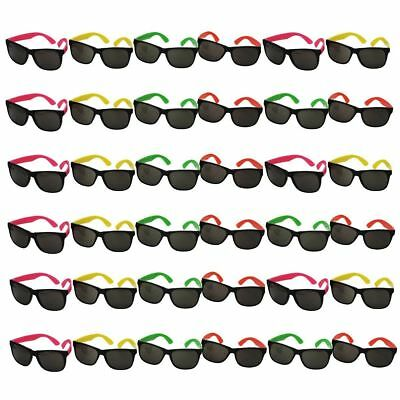 108 pk Neon Sunglasses Bulk Lot Party Favors 80s Style Retro Eyewear Accessories