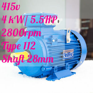 Electric-motor-Three-phase-415v-4kw-5-5HP-2800rpm-shaft-28mm