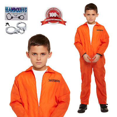 e Jailbird Orange Jumpsuit Handcuffs Fancy Dress 4-12 Years (Kids Orange Jumpsuit Kostüm)