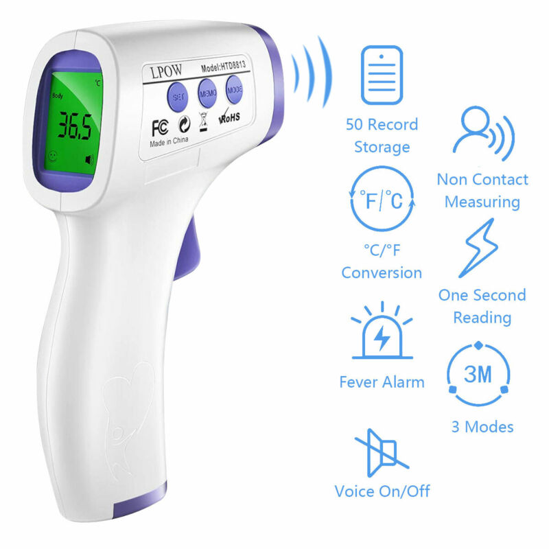 No Touch Digital Infared Forehead Thermometer Body Temperature Gun Baby Adult