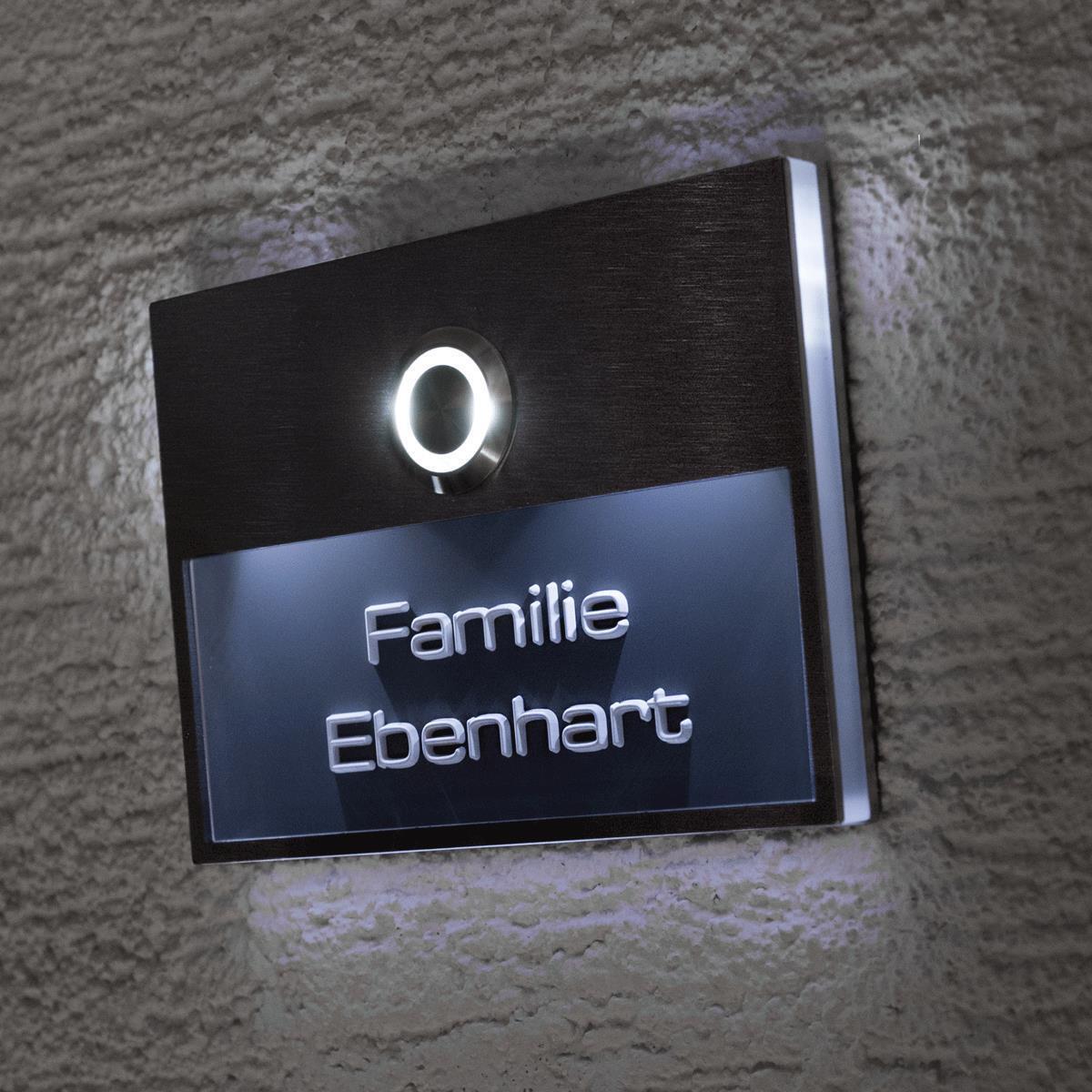 Türklingel Edelstahl Klingelschild LED-Klingeltaster Haustürklingel Beleuchtet