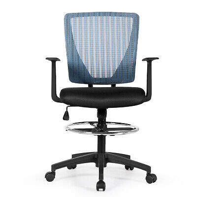 Ergonomic Mid Back Mesh Drafting Chair Home Office Adjustable Wfootrest