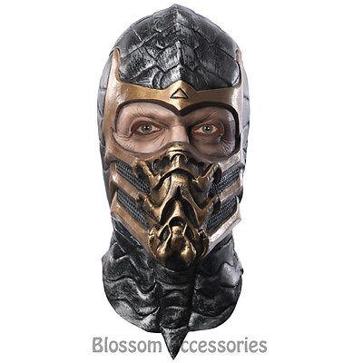 A529 Deluxe Mens Scorpion Latex Mask Mortal Kombat Ninja Costume Accessory