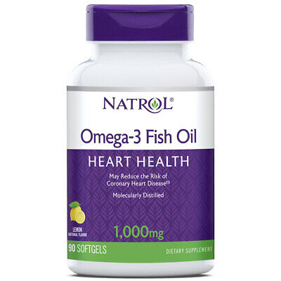 Natrol Omega-3 Fish Oil 1000 mg Lemon Flavor Distilled for Purity - 90 Softgels