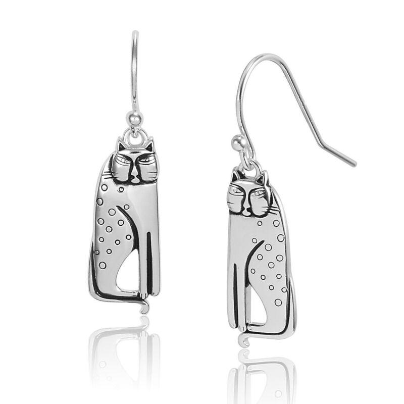 LAUREL BURCH Earrings Jewelry STERLING SILVER Siamese Cat Kitten Dangle Charm