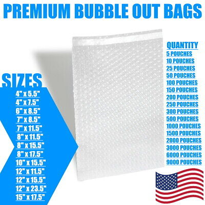 Bubble Out Bags Protective Wrap Pouches Cushioning Clear Self Seal Sm Med Large