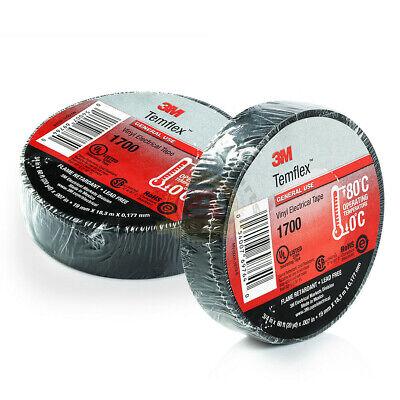 2 Rolls 3m Electrical Tape 1700 Temflex Black 34 X 60 120ft Total