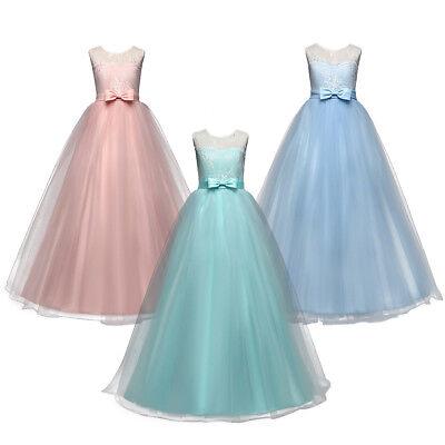Blumenmädchen Kleid Spitze Tüll Maxikleid für Kinder Hochzeit Party Abendkleider