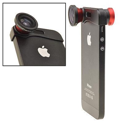 180° Degree Fish Eye Lens+Wide Angle Lens+Macro Lens 3-in-1 Kit for iPhone 5 5s