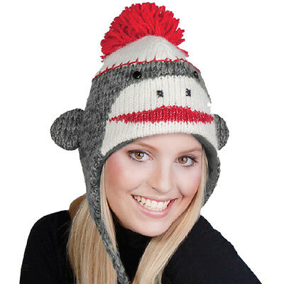 Adult Size Red-Brown Original Sock Monkey Knit Hat with Poly-Fleece - Adult Sock Monkey Hat