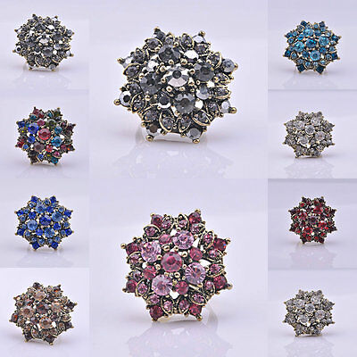 (Crystal Rhinestone Flower Stretchy Ring Antique Silver Plated Women Fashion Ring)