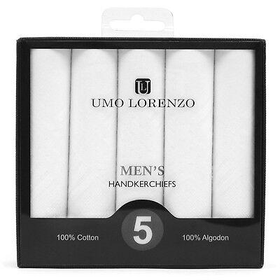 Men's White Solid 100% Cotton Handkerchiefs 5 Pack Umo Lorenzo 16 x 16 (HB005)