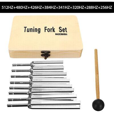 8pcs Steel Tuning Fork Health Physics Vibration L Diagnostic Mallet Kit