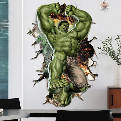 3D Cartoon Super Hero Avengers Hulk Wall Sticker Kids Room Decor Vinyl Decal - Avengers Wall Decal
