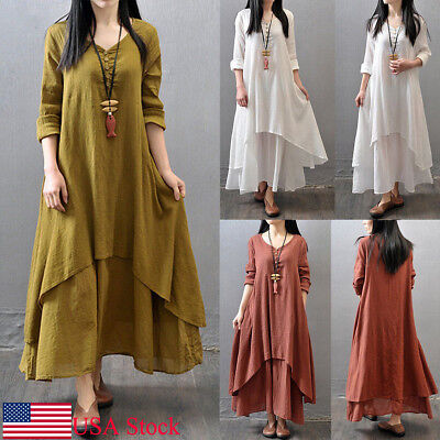 Gypsy Maxi - USA Women Peasant Ethnic Boho Cotton Linen Long Sleeve Maxi Dress Gypsy Dresses