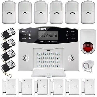 Home Auto Dialer Wireless LCD GSM SIM Burglar Intruder SMS Alarm Security System ()
