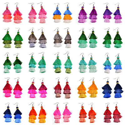 Fashion Charm Crystal Multicolor Silk Tassel 3 Layers Fan Fringe Dangle -