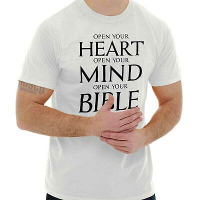 Open Your Heart Mind Bible T-Shirt | Religious Christian Gift Clothing Tee Shirt (Christian Religious Clothing)