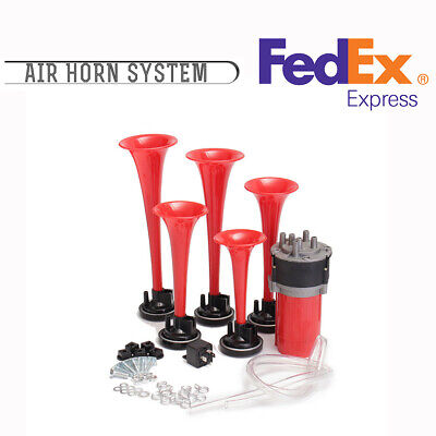 178db Trumpet Air Horn Compressor Loudspeaker Red ABS With Mounting (Front Mount Air Horns)