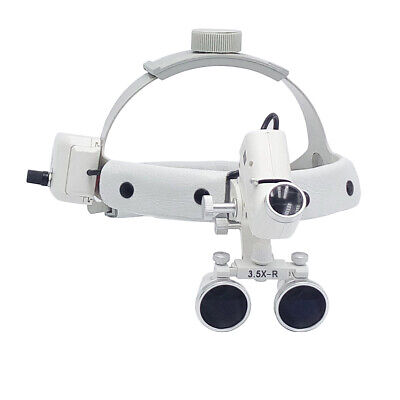 3.5x-r Dental Led Surgical Medical Headband Loupe 5w With Light Dy-106 White