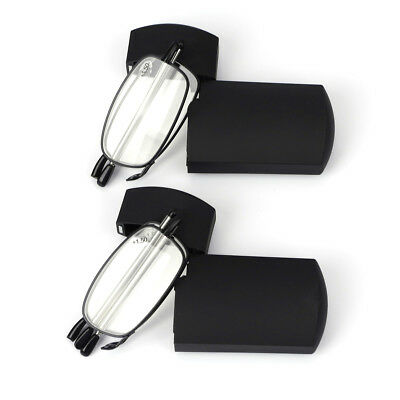 Metal Compact Folding Reading Glasses with Carrying Case 2 Pair Double Take
