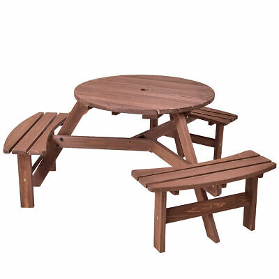 Round Picnic Bench (Patio 6 Person Outdoor Wood Picnic Table Beer Bench Set Pub Dining Seat Garden )