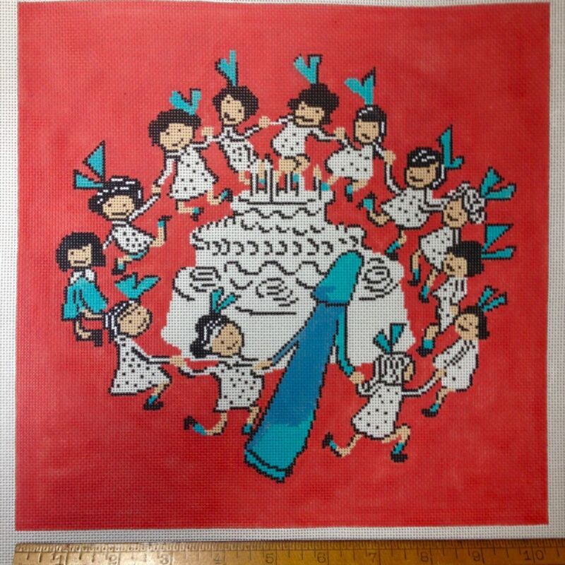 Hand painted Needlepoint canvas 18 count Madeline Story Sally Corey Designs