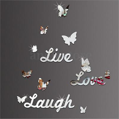 Live Laugh Love Quote Vinyl Wall Stickers Butterflies Mirror Decal Home Decor US