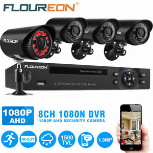 FLOUREON 4CH 1080N DVR 1500TVL IR Night Vision CCTV Camera Security System Kit