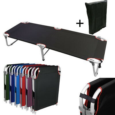 """Portable 24.5""""W Military Cots Fold Up Bed Hiking Fishing Travel Camping- Black"""