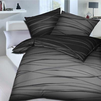 Kaeppel Biber Bettwäsche Motion zinn grau gestreift Streifen 155 x 220 cm
