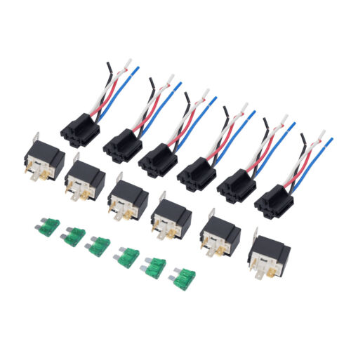 6Pack 12V 30A Fuse Relay Switch Harness Set SPST 4Pin 14 AWG Hot Wires Source