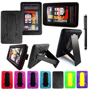 Amazon Kindle Fire Hybrid Heavy Duty Kickstand Hard Soft Case Cover Stylus Pen