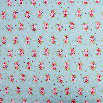Baumwollstoff DELIGHTFUL ROSES Rosenstrauß Rosen blau rosa grün 1,50m - Strauß Kostüm Kinder
