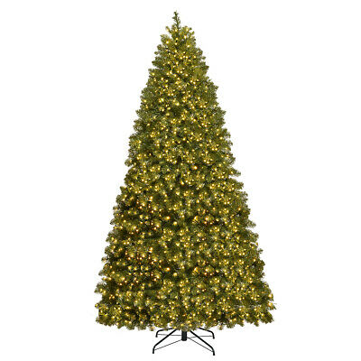 8Ft Pre-Lit Dense PVC Christmas Tree Spruce Hinged w/880 LED Lights & Stand ()