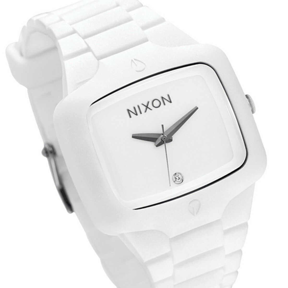 Nixon Quartz, White Silicone Band with White Diamond Dial - Men's Watch A139100