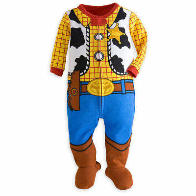 Disney Store Woody Stretchie Footed Costume Pajamas Infant Toy Story Movie pjs