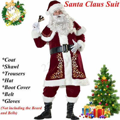 Adult 7 Piece Deluxe Santa Claus Suit Father Christmas Xmas Fancy Dress - Deluxe Santa Suit