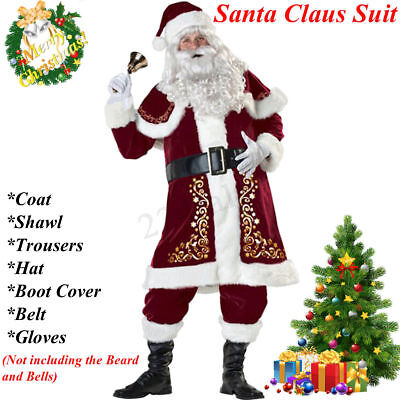 Adult 7 Piece Deluxe Santa Claus Suit Father Christmas Xmas Fancy Dress Costume