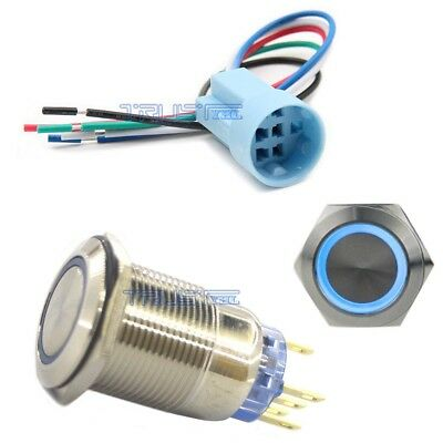 Socket Plug19mm Metal Momentary Push Button 12v Switch Blue Led