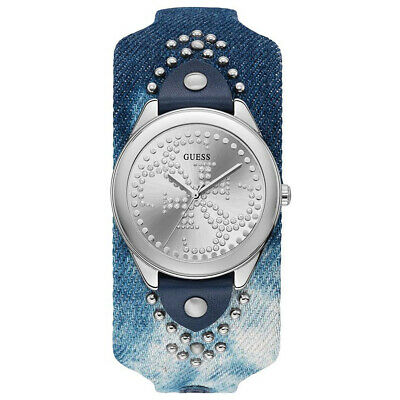 GUESS Heartbreaker Ladies Watch, Blue Jean Denim Cuff Band, Silver Logo Dial