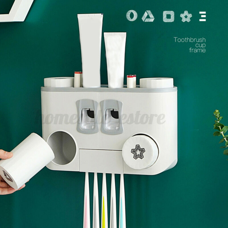 Wall Mounted 5 Toothbrush Holder Auto Toothpaste Dispenser 4 Cups Stora  UU