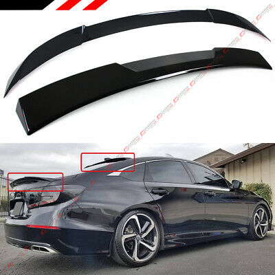 FOR 2018-19 HONDA ACCORD AKASAKA GLOSS BLK TRUNK LID + REAR WINDOW ROOF SPOILER