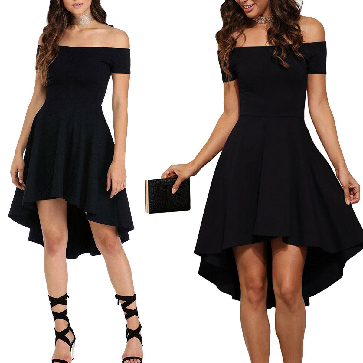 Elegant Black Women Short Sleeve Casual Cocktail Evening Party Short Mini Dress Clothing, Shoes & Accessories