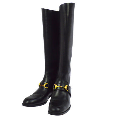 Authentic GUCCI Logos Shoes Long Boots Black Leather Italy Vintage G03412i