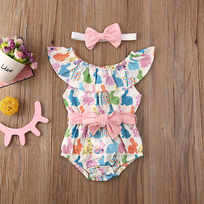 Easter Bunny Outfit (US Newborn Baby Girl Easter Bunny Clothes Romper Jumpsuit Bodysuit Dress)