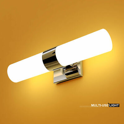 2-Light LED Vanity Fixture Polished Chrome Wall Sconces Lighting Bathroom Polished Chrome Wall