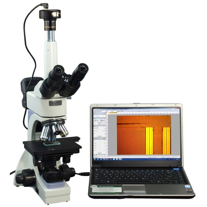 Omax 40-2500x Infinity Metallurgical Microscope With Dual Lights+1.3mp Camera