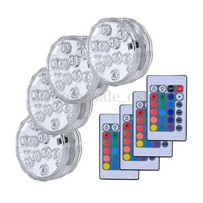 4PCS Swimming Pool Light RGB LED Bulb Remote Control Underwater Color Vase Decor - Pool Decorations
